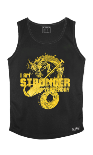 XSNA STRONGER THAN YESTERDAY SINGLET BLACK GOLD